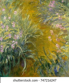 The Path through the Irises, by Claude Monet, 1914_17, French impressionist painting, oil on canvas. In his last decade, Monet created large, flowing painterly works of his gardens at Giverny