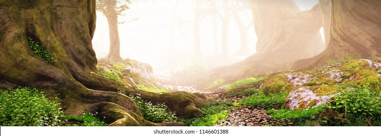 Waldweg, magischer Fantasy-Wald bei Sonnenaufgang, 3D-Landschaftsgrafik-Banner