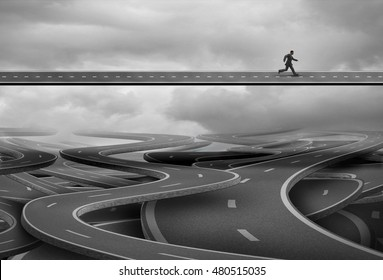 Pathway to freedom and concept for escape and a way forward towards success as a businessman finding the solution path and rise above the confusion below with 3D illustration elements.