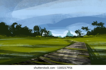 a pathway with meadow against blue sky, digital illustration art painting design style.