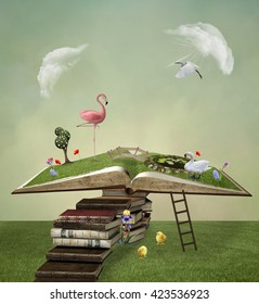 Pathway to the open book - 3D and digital painted illustration