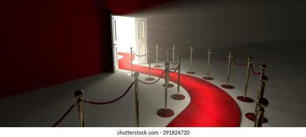 Pathway for triumph is a path delimited by an illuminated red carpet, red rope barrier and golden supports. Beyond the door there is a white illuminated environment that projects its light in the room