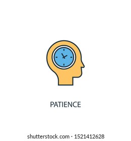 patience concept 2 colored line icon. Simple yellow and blue element illustration. patience concept outline symbol design