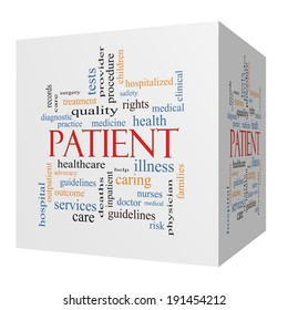 Patient 3D cube Word Cloud Concept with great terms such as medicine, rights, healthcare and more.