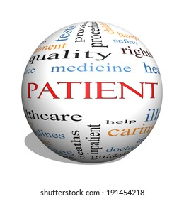 Patient 3D sphere Word Cloud Concept with great terms such as medicine, rights, healthcare and more.