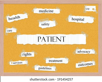 Patient Corkboard Word Concept with great terms such as rights, safety, health and more.