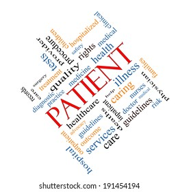 Patient Word Cloud Concept angled with great terms such as medicine, rights, healthcare and more.