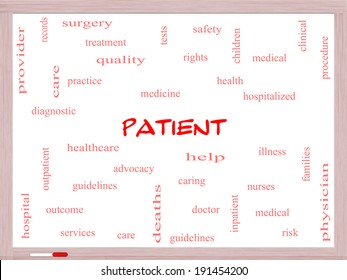 Patient Word Cloud Concept on a Whiteboard with great terms such as medicine, rights, healthcare and more.