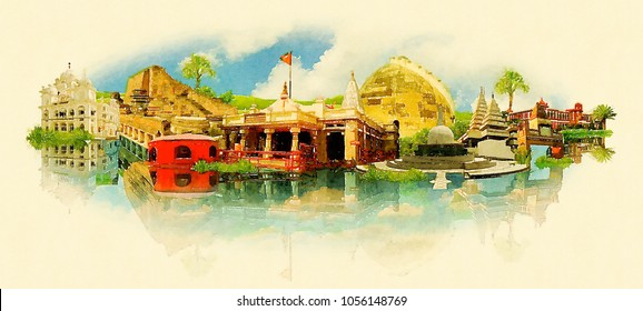 Patna City Watercolor Panoramic Skyline Illustration Artwork