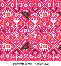 patola bandhani design with elephant parrot motif in pink background