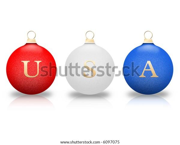 Patriotic Christmas Ornaments.Patriotic Christmas Ornaments Stock Illustration 6097075