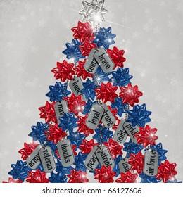 patriotic christmas tree with military dog tags