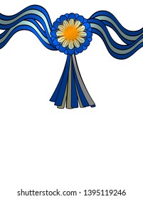 Patriotic design. Argentine flag ribbons and cockade with Sun of May, with space to write.