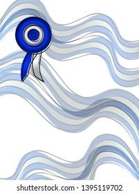 Patriotic design. Argentine flag ribbons and cockade.
