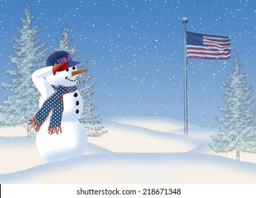 Patriotic fun image of snowman in snowstorm saluting the American flag he sees in the distance.