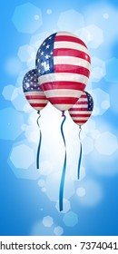Patriotic Red and White balloons on blue sky