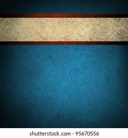 patriotic red white and blue background with vintage grunge texture and white parchment ribbon stripe with blank copyspace for July 4th or independence day