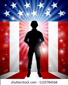 A patriotic soldier in front of an American flag background