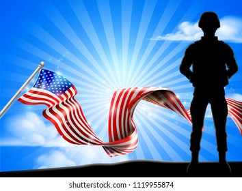 A patriotic soldier standing in front of an American flag background