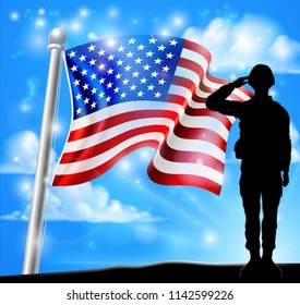 A patriotic soldier standing in front of an American flag background and saluting
