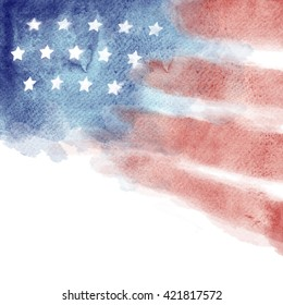 Patriotic Watercolor Red White and Blue background