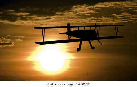 Patrolling airplanes at the sunset