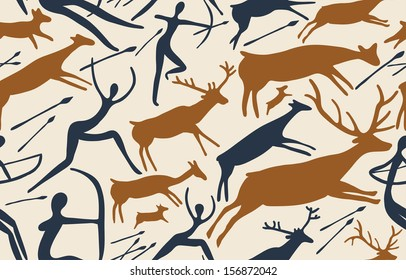 Pattern about hunting with primitive figures