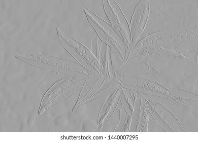 Pattern of abstract leaves ,embossed leaves with background grey