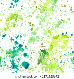 Pattern abstract paint spots on white background. Color watercolor stains and blots.