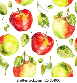 Pattern apples painted with watercolors on white paper. Red apple, green apple, leaf, half an apple