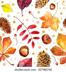 Pattern autumn leaves painted with watercolors on white background. Coloured bright leaves hand-painted, paint, taktura, watercolor. Maple leaves