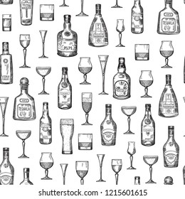 pattern or background illustration with hand drawn alcohol drink bottles and glasses