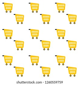 Pattern background with pushcart for retail and shop, cart basket and pushcart endless backdrop