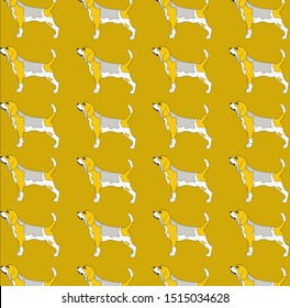 Pattern of beagles in profile on mustard yellow background.