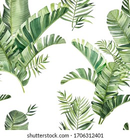 Pattern with beautiful watercolor tropical leaves. Tropics. Realistic tropical leaves.  On white background.