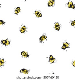 Pattern with bee. Hand drawn illustration