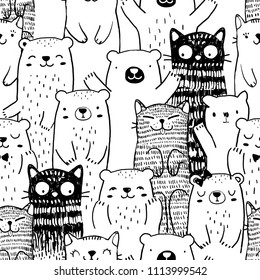 pattern Black and white doodle friends