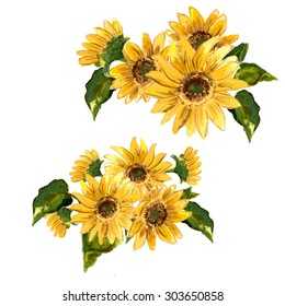 The pattern of blooming yellow flowers sunflower painted in watercolor for your design. Raster illustration