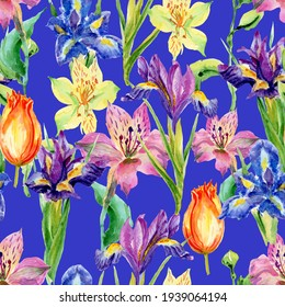 Pattern of bright multicolored spring flowers: tulips, irises.  Perfect for wrapping paper, decor, textile, web design, card. Botanical illustration. On a blue background.