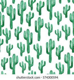 Pattern with cactus. Watercolor hand drawn illustration