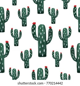 Pattern with cactuses. Watercolor hand painted  illustration
