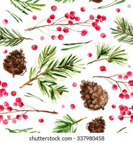 Pattern Christmas ornaments from the branches painted with watercolors on white background. Branches of trees. Holly sprigs with red berries.