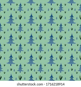 Pattern of Christmas trees on a green background, in the Scandinavian style.
