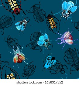 Pattern of colored watercolor beetles on a blue background. Brown beetle, blue, black, stag beetle, bronze. Insects with wings, entomology. Many beautiful insects with small details, one line. textile