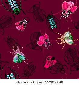 Pattern of colored watercolor beetles on a red background. Brown beetle, blue, black, stag beetle, bronze. Insects with wings, entomology. Many beautiful insects with small details, one line. textile