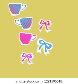 Pattern  of  cups, halftone, bows, dashed line, label . Hand drawn.