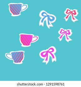 Pattern  of  cups, halftone, bows, dashed lines, labels . Hand drawn.