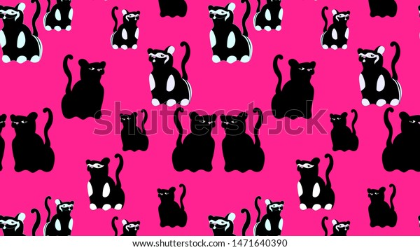 Pattern Cute Black Cats On Pink Stock Illustration 1471640390