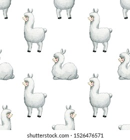 Pattern with cute lama alpaca. Watercolor hand painted illustration