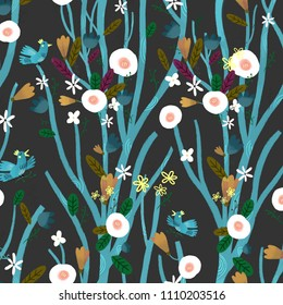 pattern in dark colors with trees and birds sitting on brunches